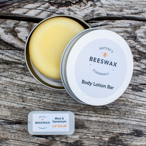 image of beeswax body lotion bar and lip balm