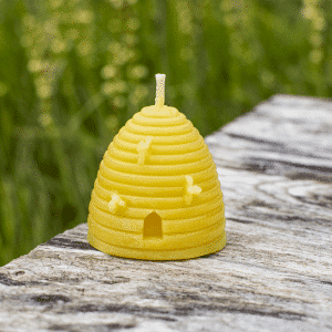 image of beeswax candle beehive