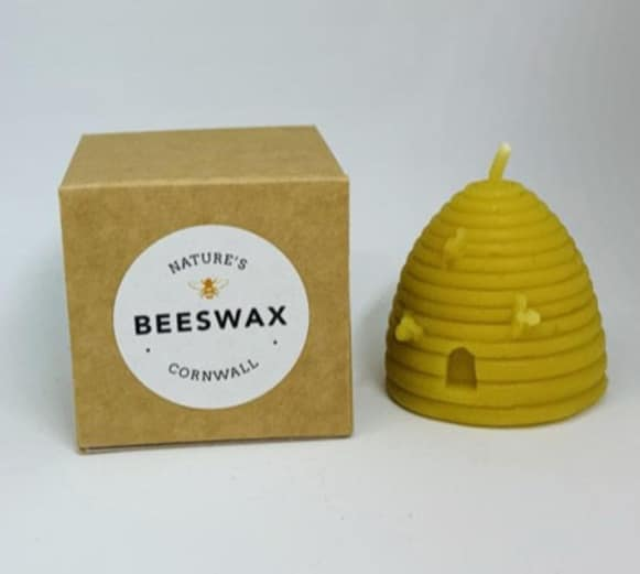 image of beeswax candle beehive and box