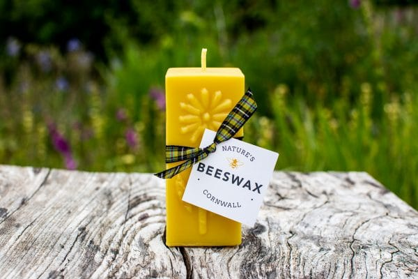 image of beeswax candle block flower