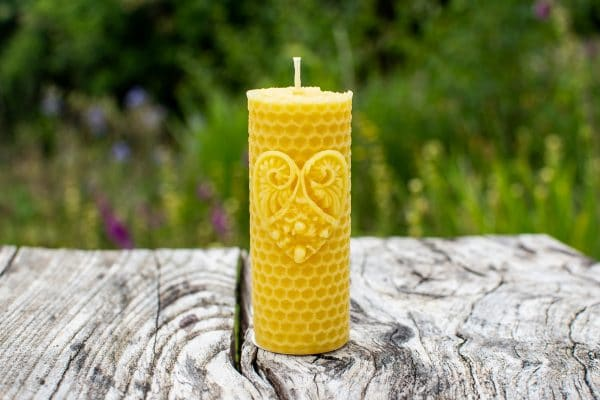 image of beeswax candle honeycomb heart