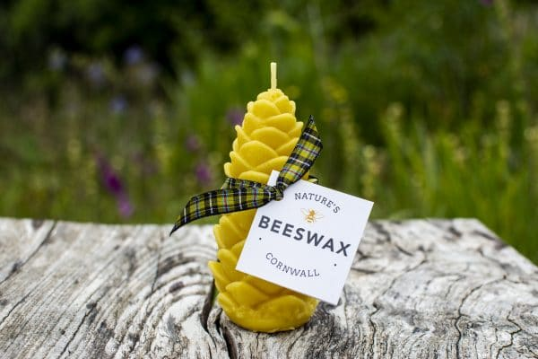 image of beeswax candle pinecone decorated