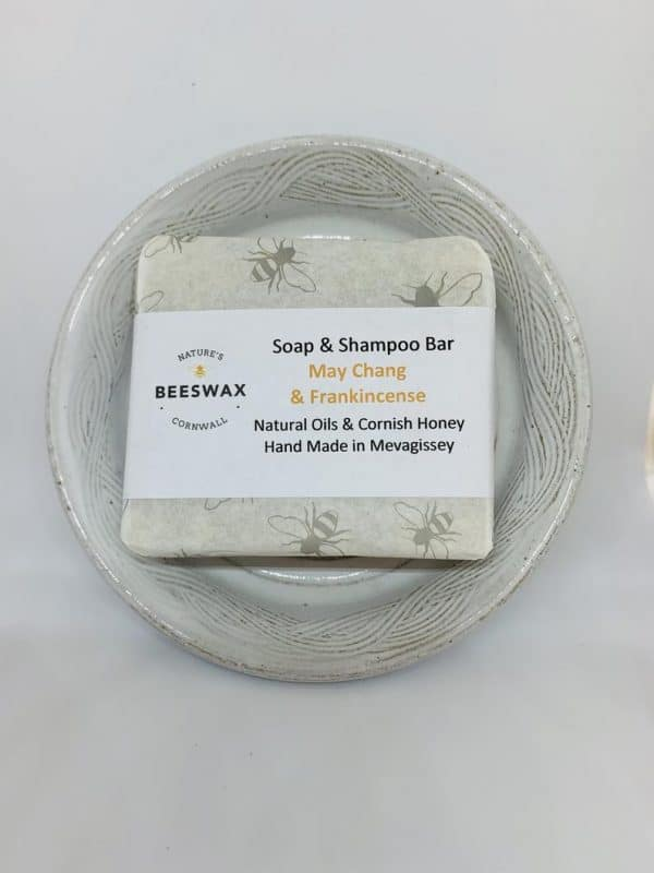 image of ceramic soap dish and beeswax soap